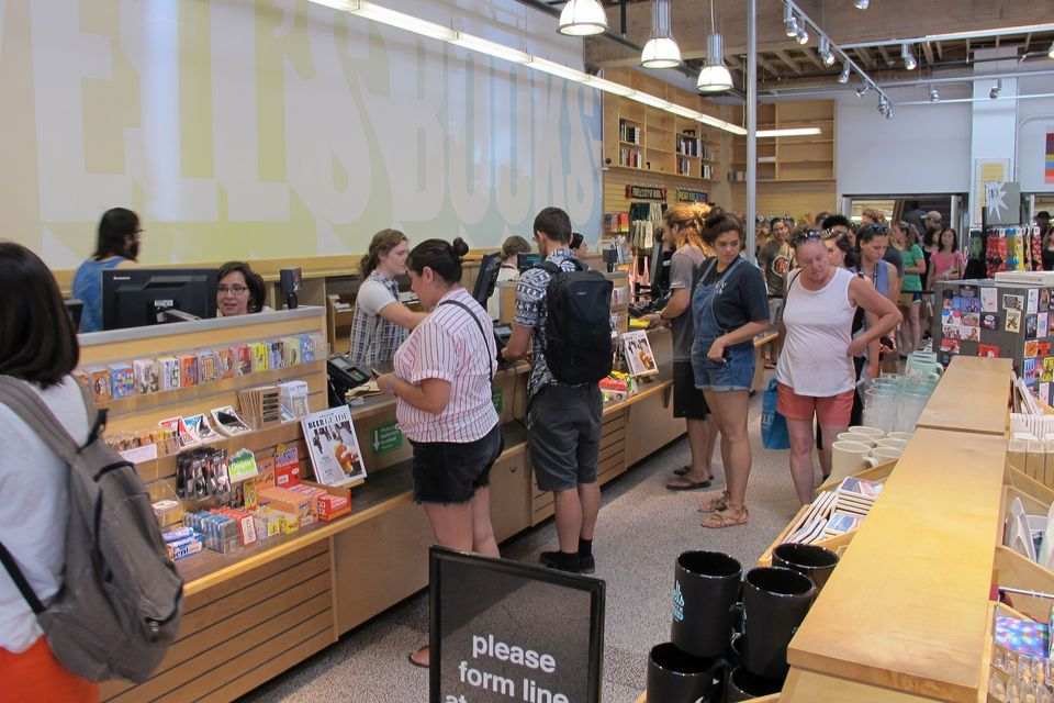 The busy checkout area at Powell's City of Books.