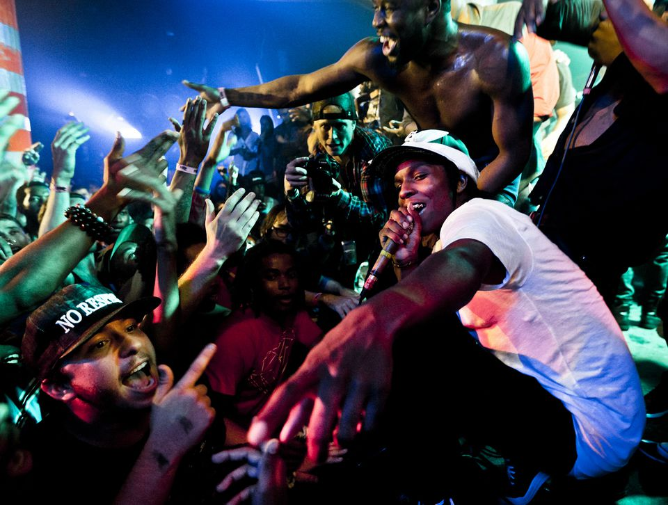"""A$AP Rocky (pictured at a New York concert) says, """"I want to take every value of every state and mash it into this one revolutionary type of artist.''"""