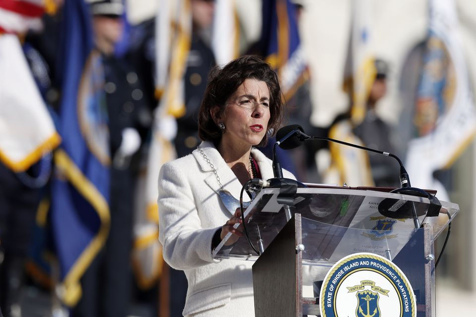 Rhode Island Governor Gina Raimondo gives her inaugural address at the State House in Providence, R.I. on Jan. 1.