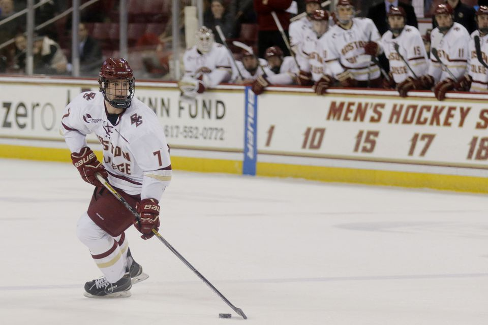 Noah Hanifin had three years of eligibility left at Boston College.