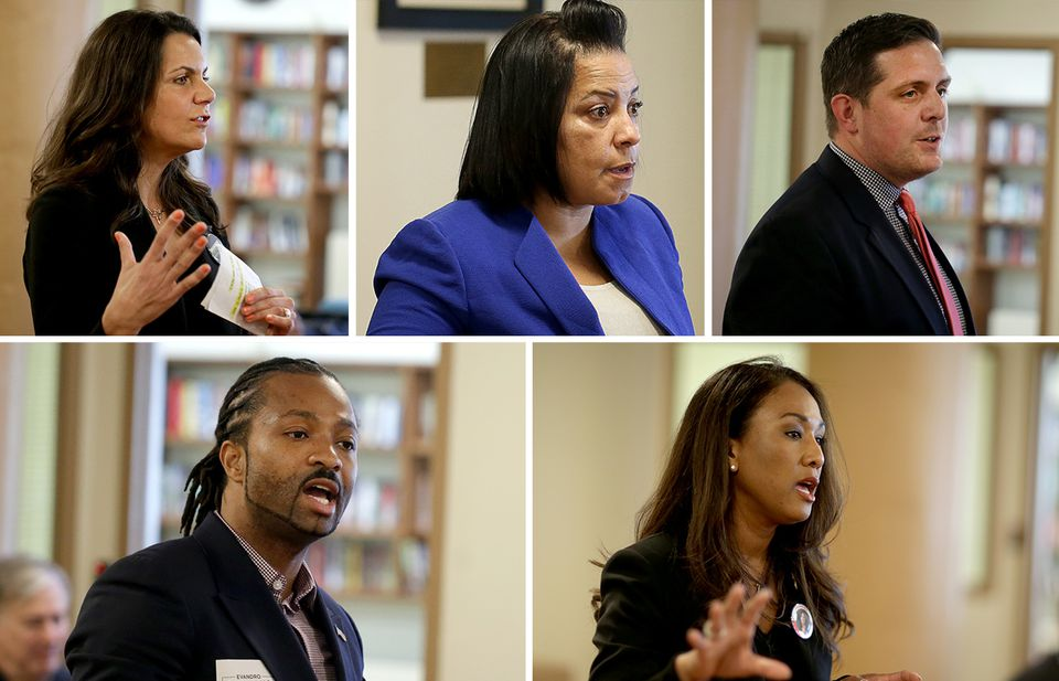 Candidates for Suffolk district attorney, from top left: Shannon McAuliffe, Rachael Rollins, Greg Henning, Evandro Carvalho, and Linda Champion.