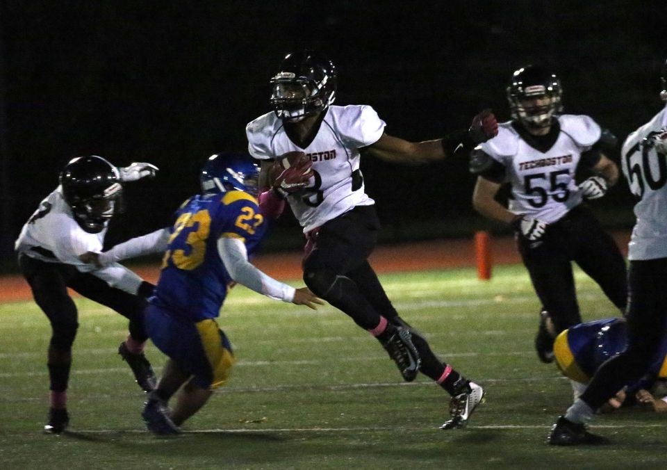 Marcus Gonzalez (3) rushed for 257 yards and four touchdowns in TechBoston's 28-12 win over East Boston Friday night.