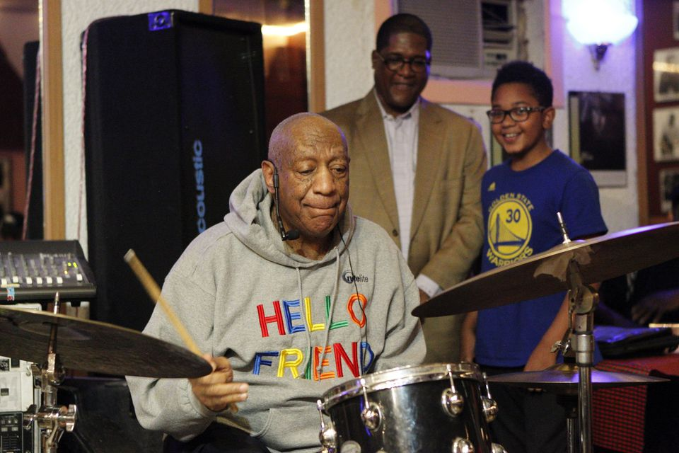 Bill Cosby played the drums Monday night during a performance at a Philadelphia jazz club.