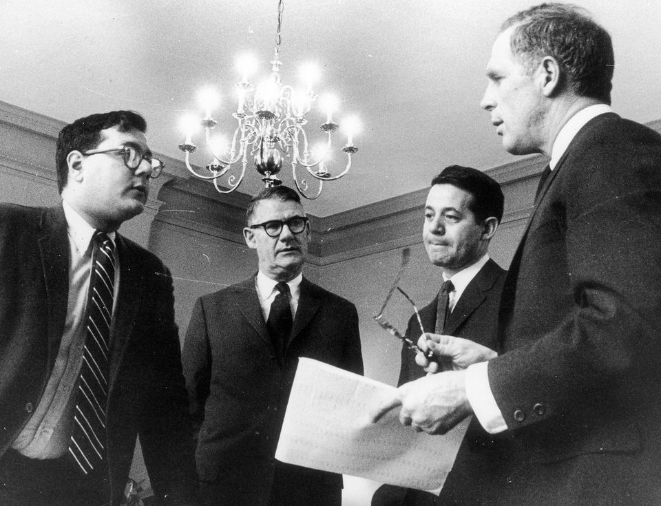 Barney Frank (left), chief of staff for Mayor Kevin White, in 1968.