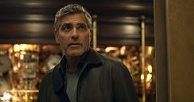 """""""Tomorrowland"""" stars George Clooney as the grown-up version of a boy inventor and Britt Robertson as a high school brainiac."""