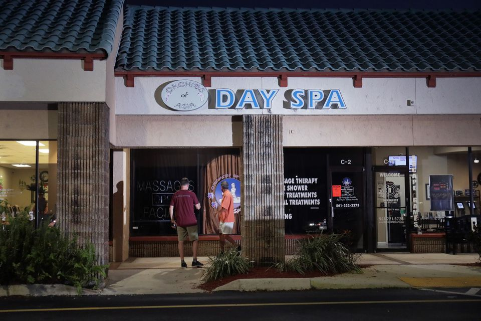 The scene outside the now closed Orchids of Asia Day Spa in Jupiter, Fla.