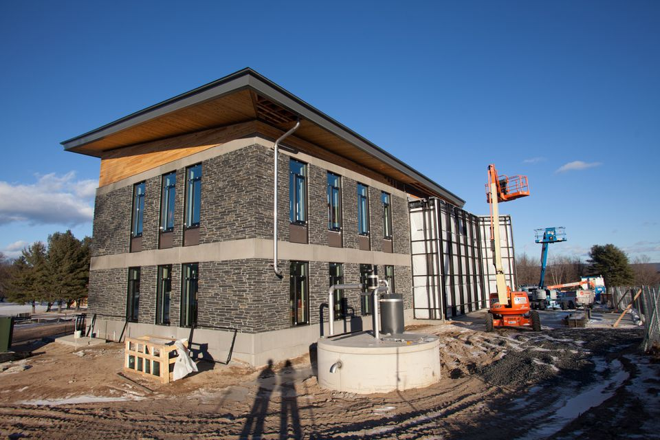 Construction equipment was seen around the soon-to-open Kern Building at Hampshire College last month.
