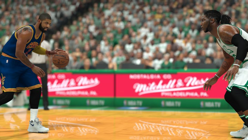 A screen capture provided by the maker of NBA 2K featuring Kyrie Irving vs. Jae Crowder.