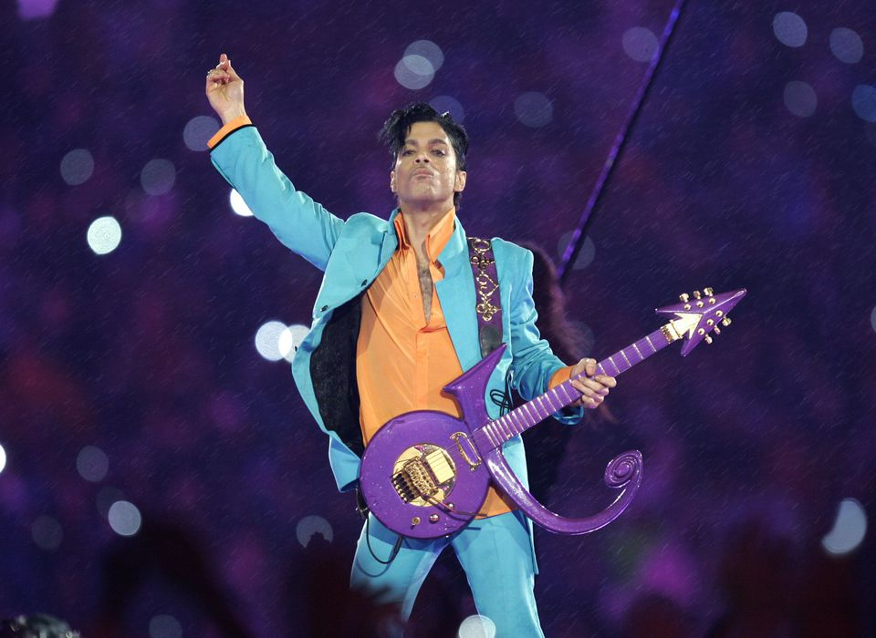 Prince performs during the halftime show at Super Bowl XLI in Miami, on Feb. 4, 2007. He died on April 21, 2016, from what was described as an accidental drug overdose.