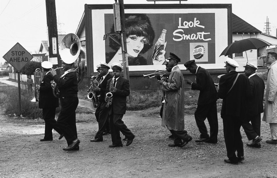 """Lee Friedlander's """"Young Tuxedo Brass Band"""" is part of """"Jazz Lives: The Photographs of Lee Friedlander and Milton Hinton"""" at Yale University Art Gallery."""