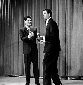 Actor-comedian Jerry Lewis, right, appeared on singer Eddie Fisher's television program in Hollywood, 1958.