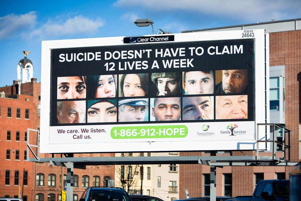 A billboard in Lawrence highlights the prevalence of suicide in Massachusetts.