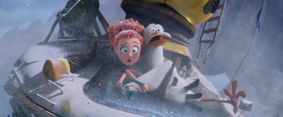 """Tulip (voiced by Katie Crown) and Junior (Andy Samberg) in """"Storks."""""""