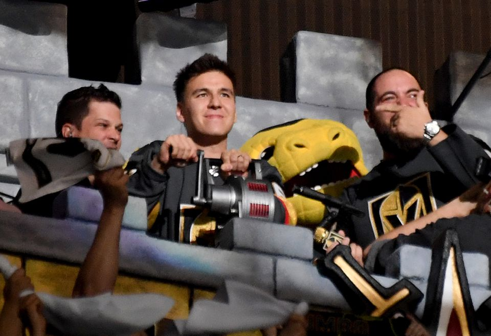 """Professional sports gambler and """"Jeopardy!"""" champion James Holzhauer sounded a siren before the start of Game 6 between the San Jose Sharks and the Vegas Golden Knights on April 21."""