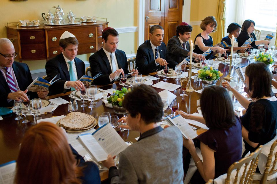 President Obama, with Eric Lesser (on left), now a Massachusetts state senator, held the 2011 Seder in the Old Family Dining Room of the White House.