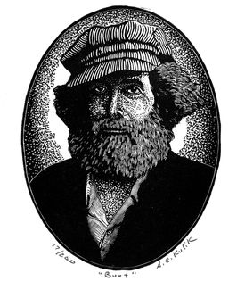 A woodcut illustration of Burt Shavitz by Tony Kulik of Belfast, Maine.