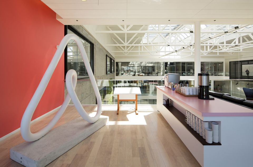 The reception area of San Francisco-based Airbnb.