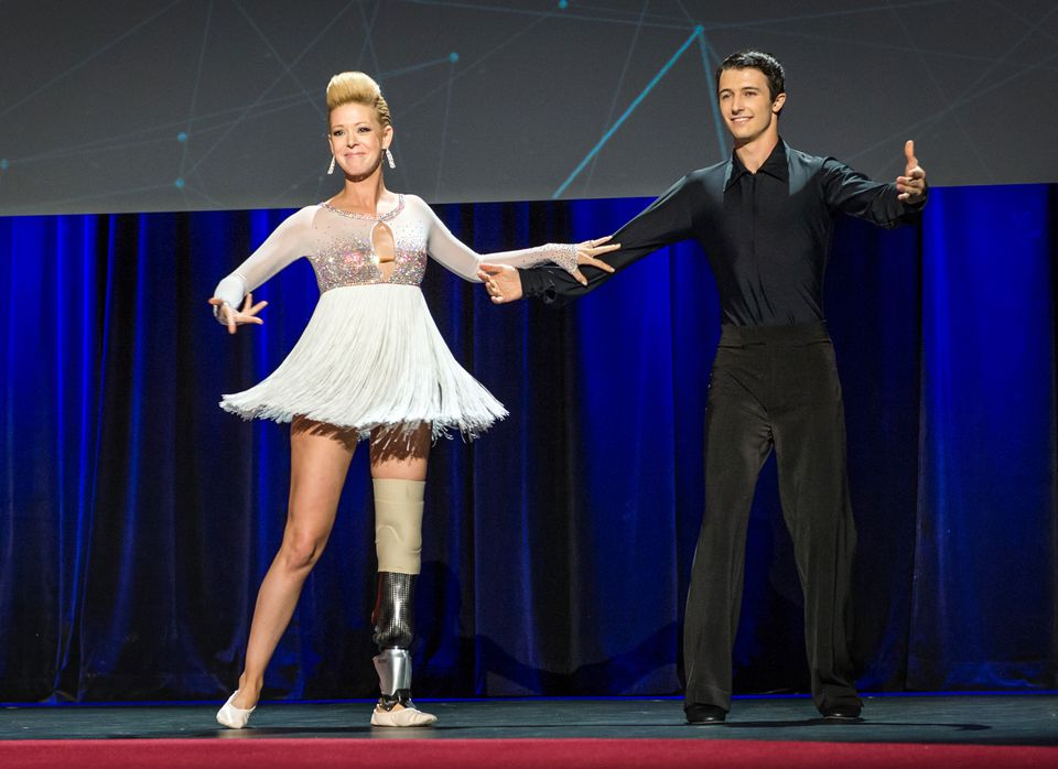 Adrianne Haslet-Davis performed on stage at the 2014 TED Conference. It was the first time she had performed since losing part of her left leg in the Boston Marathon bombing.