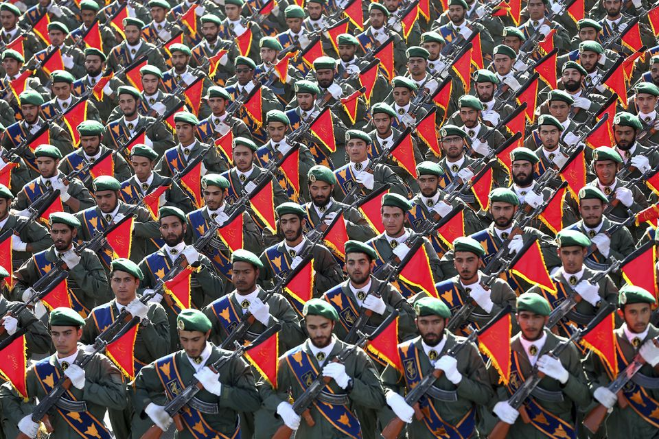 Iran's Revolutionary Guard Corps in a military parade marking the 36th anniversary of Iraq's 1980 invasion of Iran, in front of the shrine of late revolutionary founder Ayatollah Khomeini, just outside Tehran, on Sept. 21, 2016.