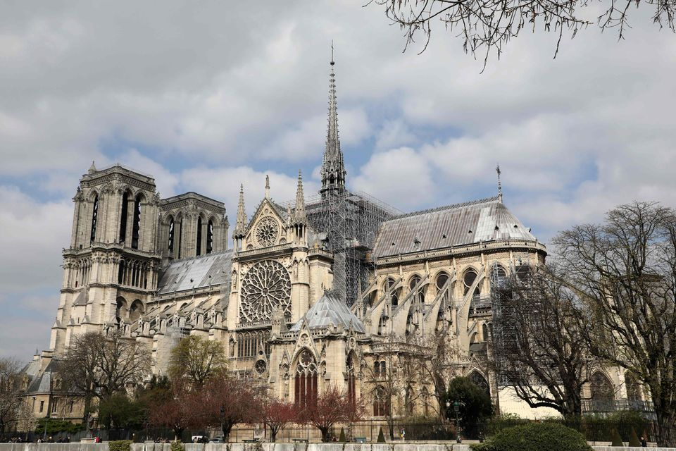 The Notre-Dame Cathedral, as pictured on March 27, 2019, shows a scaffold during the building's restauration.