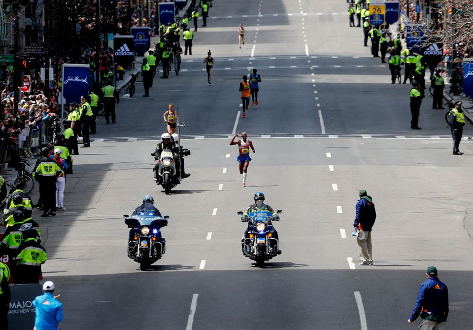 Keflezighi approaches the finish line of the Boston Marathon in 2014.