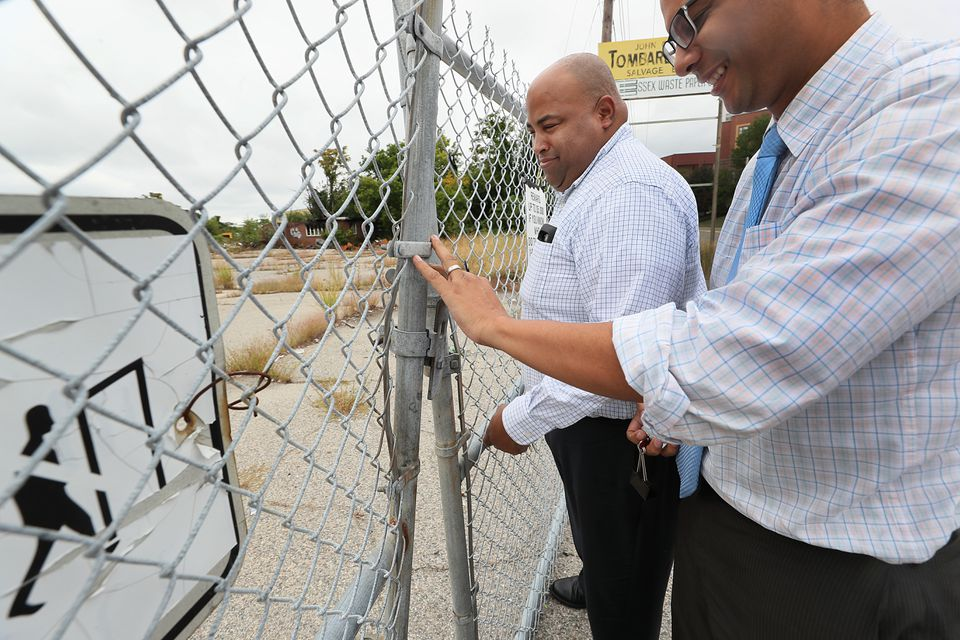 Mayor Dan Rivera of Lawrence (left) toured potential Amazon sites with another Lawrence official.