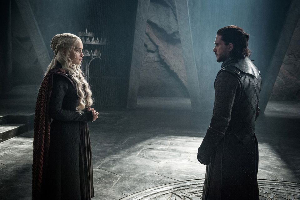 "Emilia Clarke (left) and Kit Harington on ""Game of Thrones."""