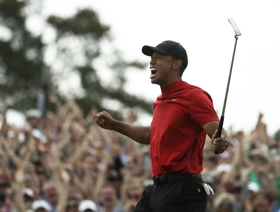 Tiger Woods let out a celebratory yell after winning the Masters.