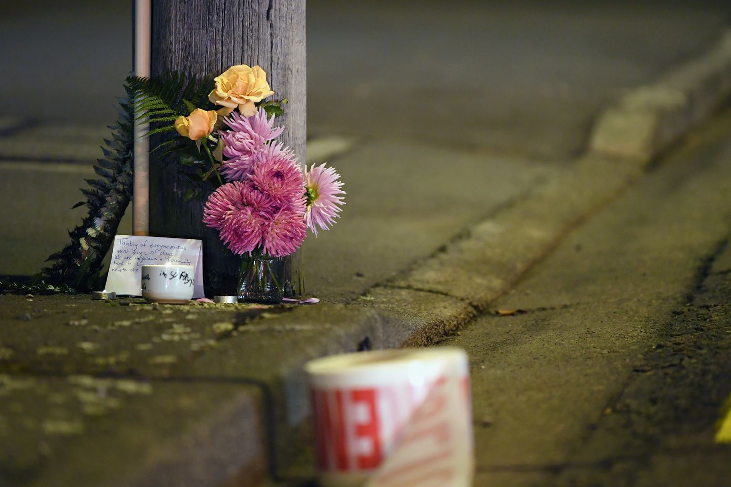 A floral tribute on Linwood Avenue near the Linwood Masjid mosque on March 15 in Christchurch, New Zealand.