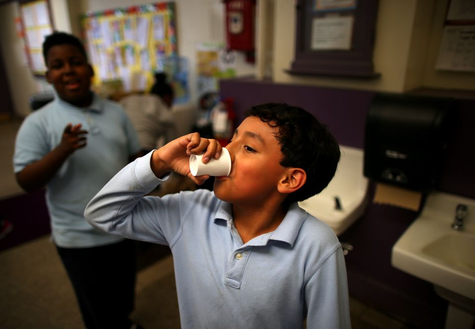 Less than a third of Boston school buildings still use tap water.
