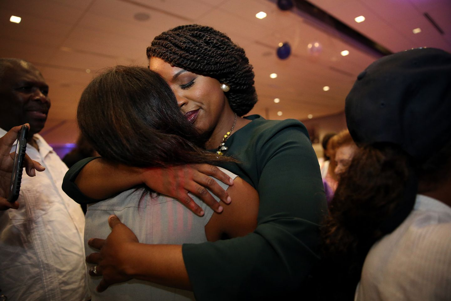 Ayanna Pressley greeted supporters after she became the Democratic candidate for the Massachusetts Seventh Congressional District on Sept. 4.