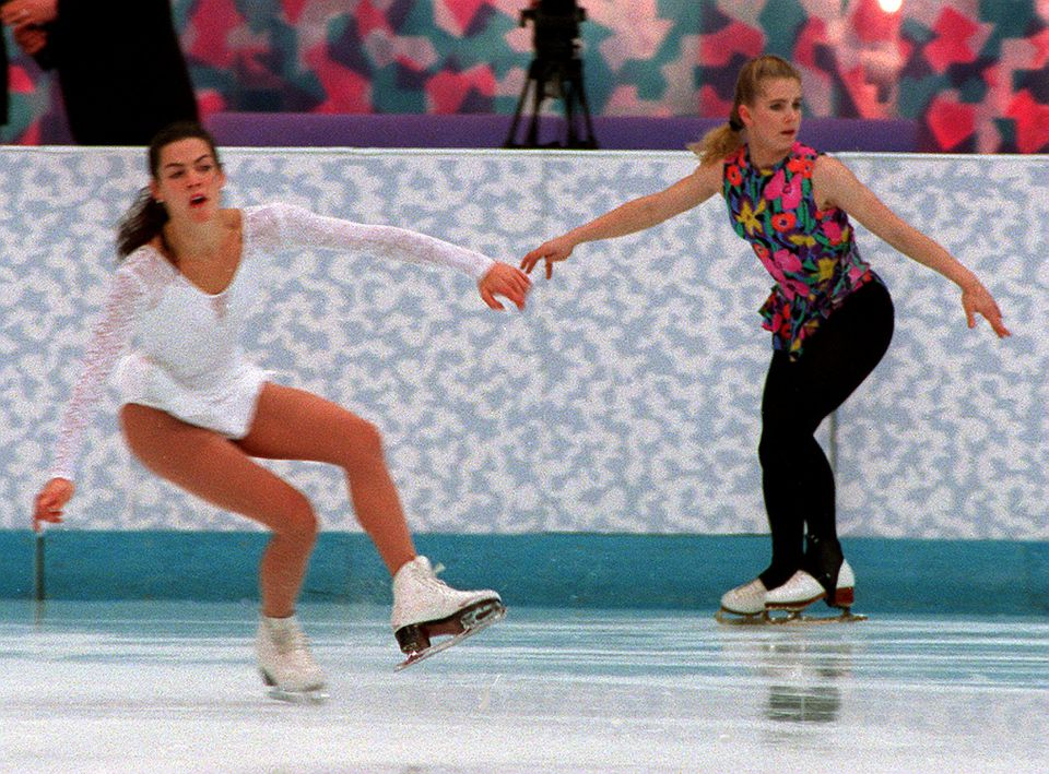 Nancy Kerrigan (left) and Tonya Harding worked on their routines before the 1994 Lillehammer Olympics.