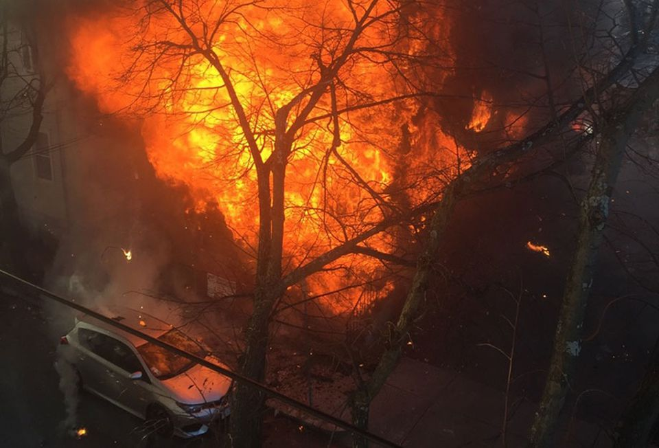 Firefighters were at the scene of a large blaze on Berkshire Street in Cambridge Saturday afternoon.