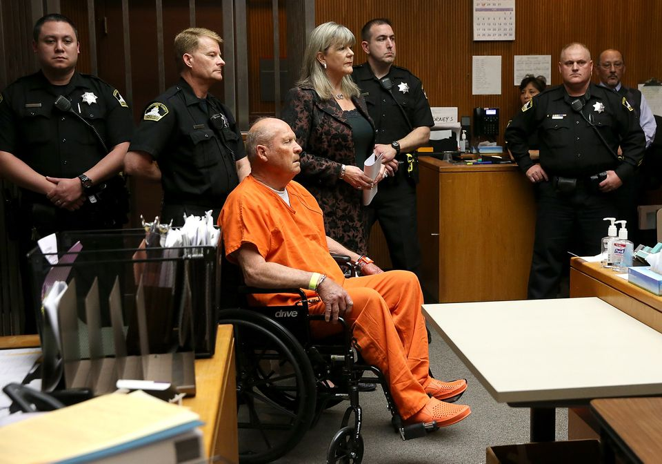 Joseph James DeAngelo, the suspected Golden State Killer, appears in court for his arraignment on April 27 in Sacramento, Calif.