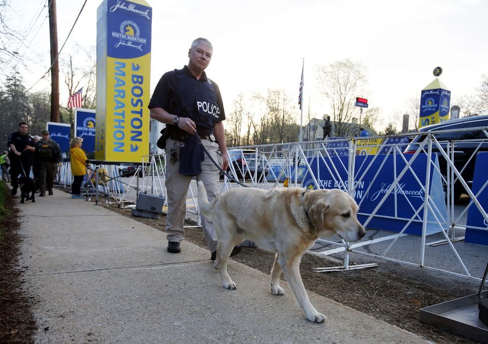 A police officer and a working dog performed a security sweep in Hopkinton.