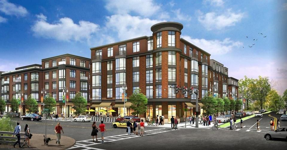 A rendering of the five-story, 140-unit apartment complex known as Washington Place.