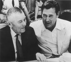 """Former Red Sox owner Tom Yawkey (left), pictured with Ted Williams, said in 1965: """"I have no feeling against colored people."""""""