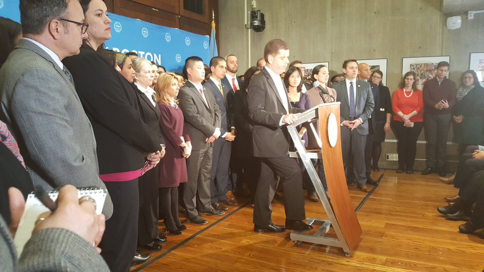 Boston Mayor Martin J. Walsh during a press conference on immigration on Wednesday.