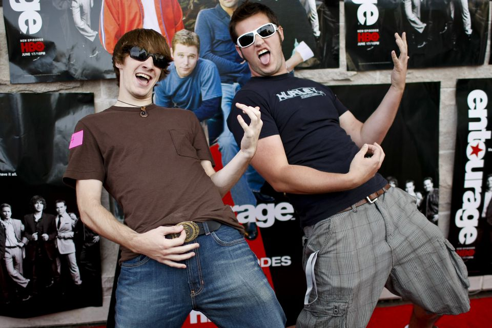 Northeastern students Ben Gram (left) and Evan Burgener demonstrate their air guitar skills at an event in 2007.