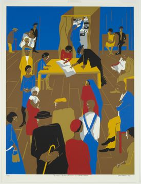 """""""The 1920's ... The Migrants Arrive and Cast Their Ballots"""" by Jacob Lawrence."""