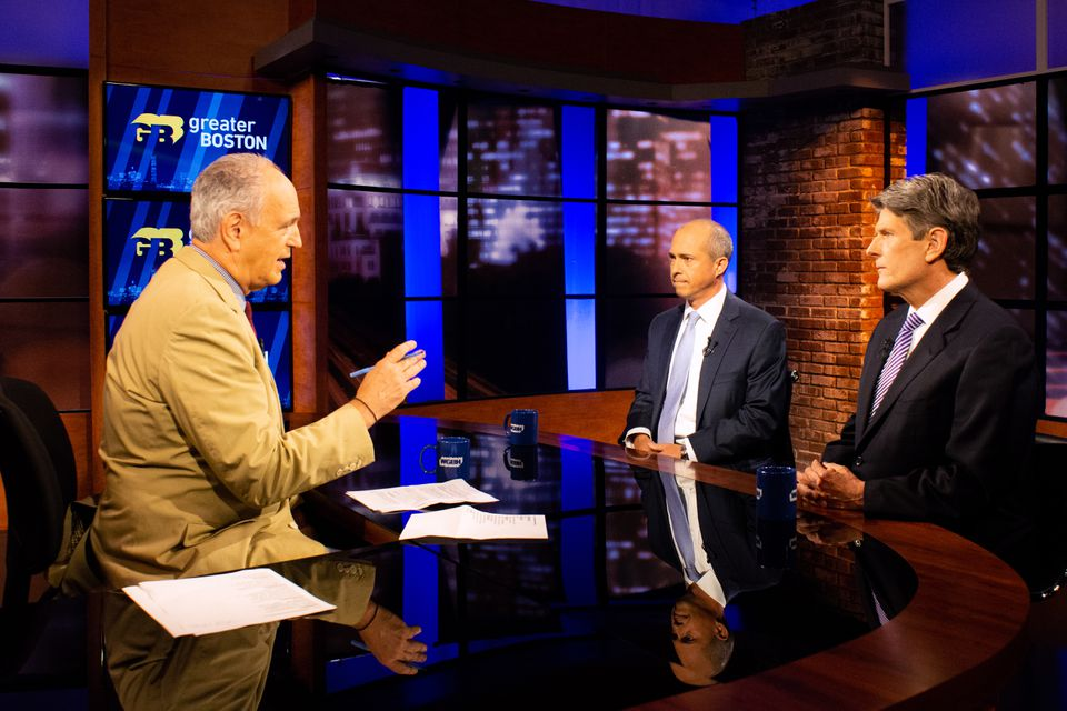 "Appearing on WGBH's ""Greater Boston"" with Jim Braude, Jay Gonzalez (center) and Bob Massie (right) debated Thursday."
