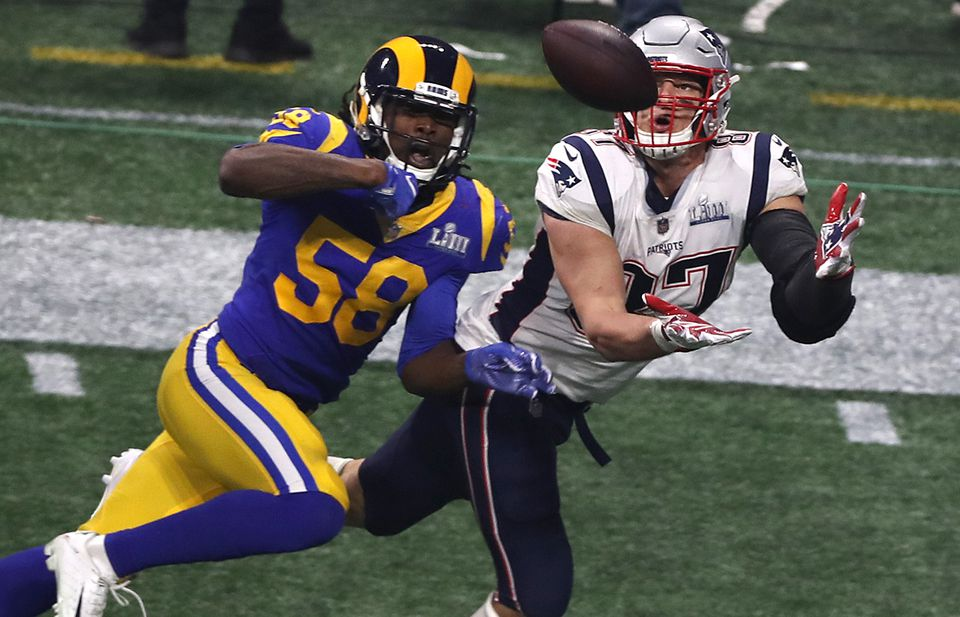 This catch by Rob Gronkowski set up a key touchdown by Sony Michel in Super Bowl 53.
