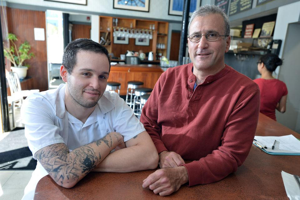 Tim Maslow (left) with his father, Paul Maslow, at Strip T's in Watertown.