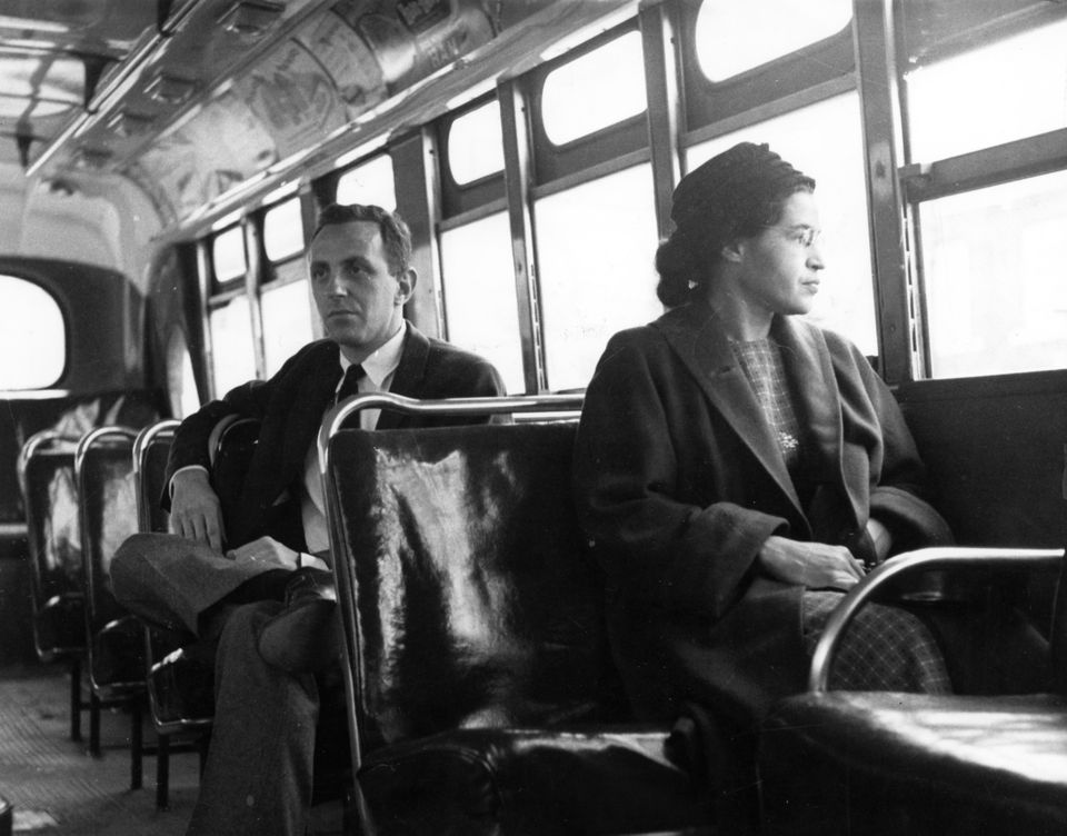 Rosa Parks sat in the front of a city bus in Montgomery, Ala.