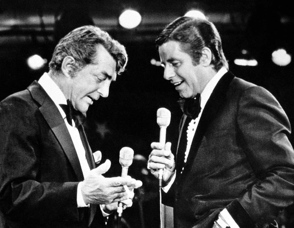 Dean Martin and Jerry Lewis at the telethon in September 1976.