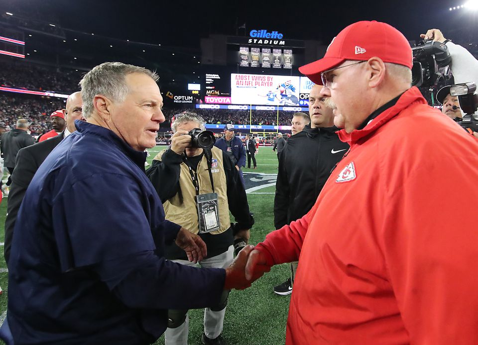 Bill Belichick and Andy Reid crossed paths in October, with Belichick getting the decision.