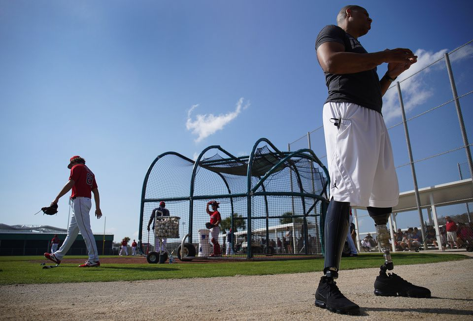 Cedric King, who lost both legs serving in Afghanistan in 2012, visited the Red Sox at JetBlue Park on Tuesday.