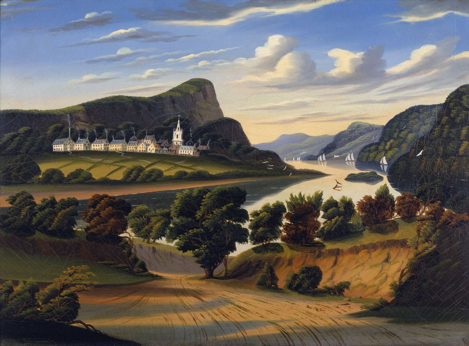 """Thomas Chambers's """"Lake George and the Village of Caldwell"""" is part of """"Poetry of Nature: Hudson River School Landscapes From the New York Historical Society through Nov. 25 at Worcester Art Museum."""
