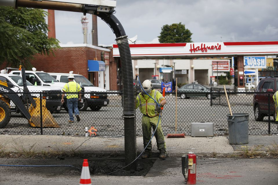 Columbia Gas workers worked on pipes off of Parker Street in South Lawrence on Sept. 20.