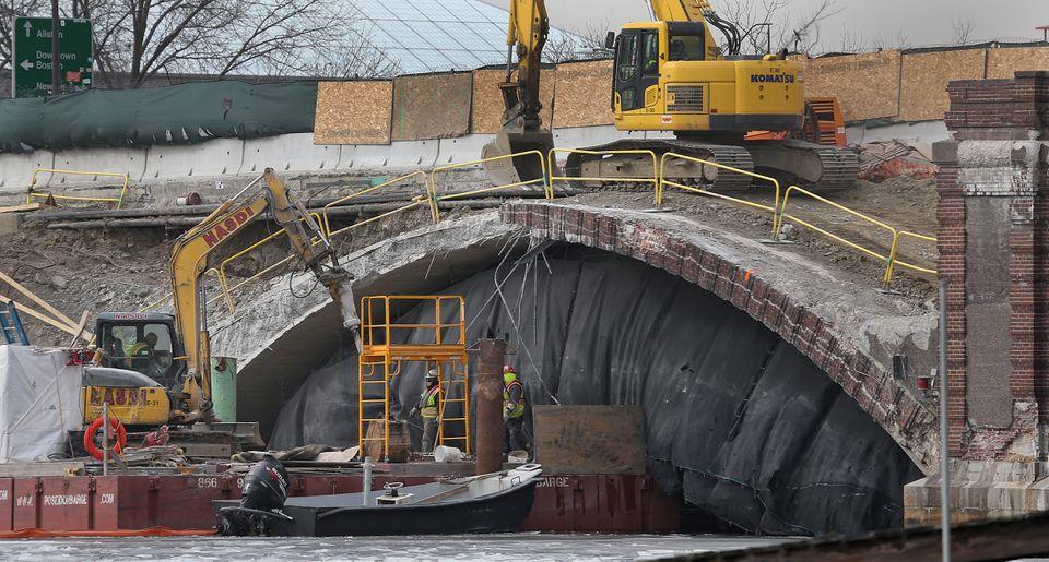 Construction on the Anderson Bridge.